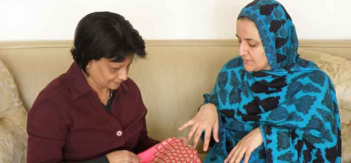 Rangina Hamidi – Afghan-American activist & entrepreneur – explains the ancient art of 'khamak' embroidery to Kalpana Biswas.